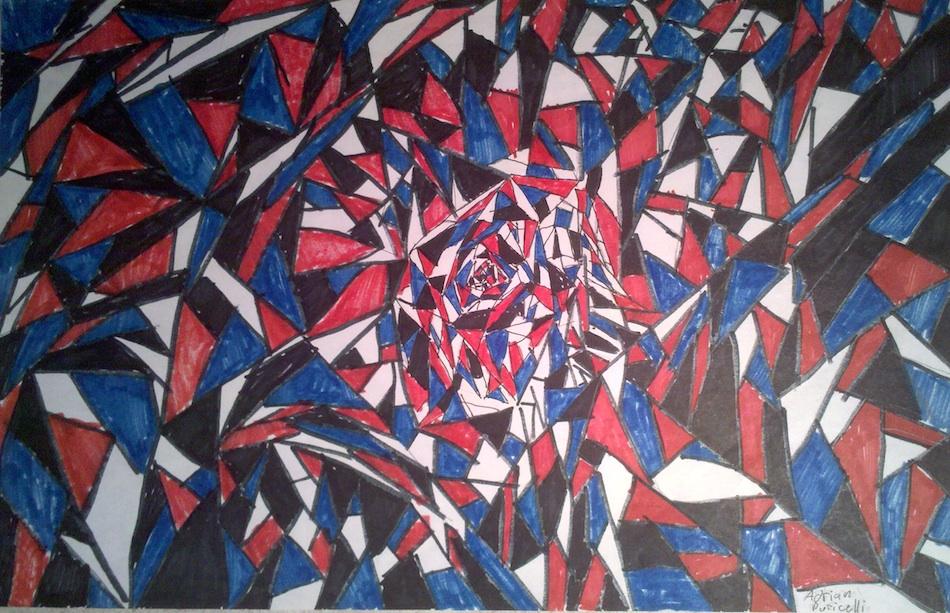 fragments red blue black white